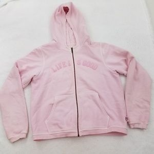 Life Is Good Women's Pink Hoodie Long Sleeve Hoode